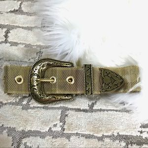 Gold Tone Metal Western Belt Sz S fits 28-32""